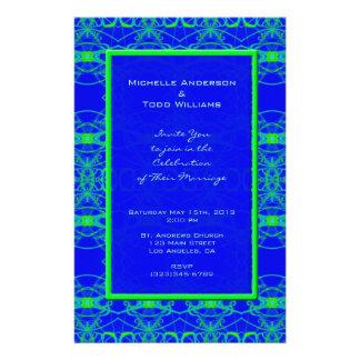 "Boda azul brillante del modelo de la verde lima folleto 5.5"" x 8.5"""
