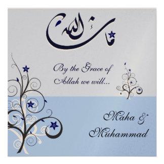Boda azul compromiso del mashaAllah islámico Anuncio Personalizado