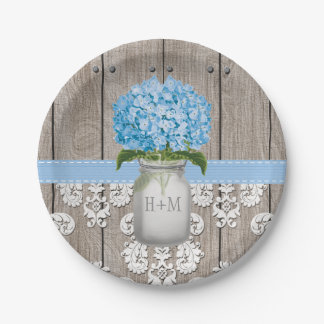 Boda azul con monograma del Hydrangea del tarro de Platos De Papel