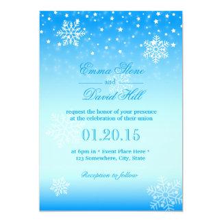 Boda azul congelado elegante de los copos de nieve invitación 12,7 x 17,8 cm