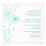 Boda azul de la aguamarina simple de las flores de comunicado