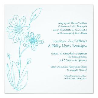 """Boda azul de la aguamarina simple de las flores de invitación 5.25"""" x 5.25"""""""