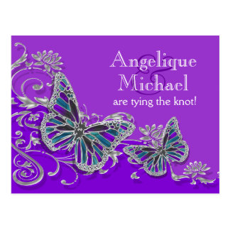 Boda azul de plata púrpura de la mariposa postales