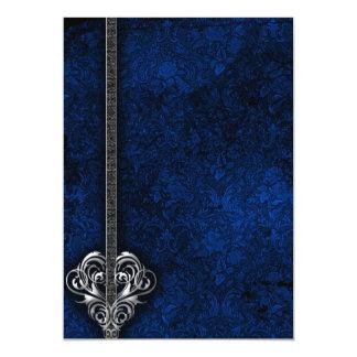 """Boda azul del corazón de la plata del damasco del invitación 5"""" x 7"""""""