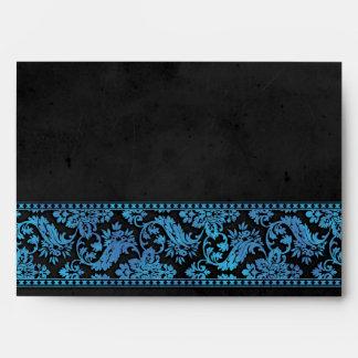 Boda azul del cordón del damasco del vintage
