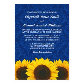 Boda azul del damasco de los girasoles invitación 12,7 x 17,8 cm