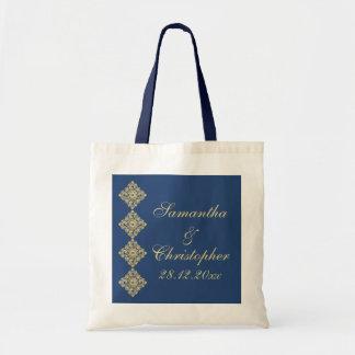 Boda azul del damasco de oro del diamante bolsa tela barata