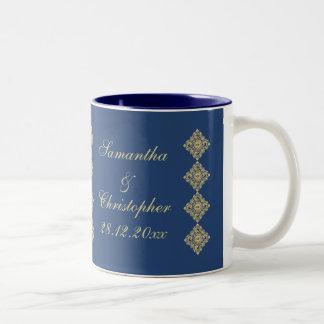 Boda azul del damasco de oro del diamante taza de café de dos colores