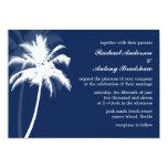 Boda azul del destino de las palmeras invitación 12,7 x 17,8 cm
