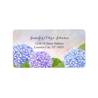 Boda azul del Hydrangea de la acuarela Etiqueta De Dirección