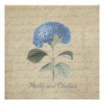 Boda azul del Hydrangea del vintage Invitacion Personalizada