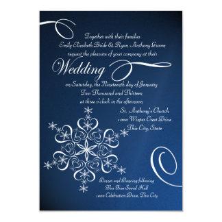 """Boda azul del invierno de la elegancia del copo de invitación 5"""" x 7"""""""