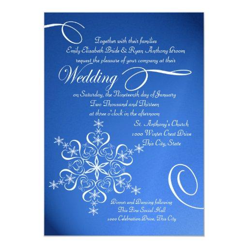 """Boda azul del invierno del zafiro del copo de invitación 5"""" x 7"""""""