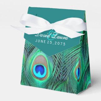 Boda azul del pavo real del trullo cajas para regalos