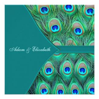 Boda azul del pavo real del trullo comunicado personalizado