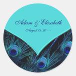 Boda azul del pavo real del trullo real etiquetas redondas