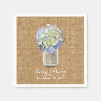 Boda azul elegante del tarro y de la arpillera de servilletas de papel