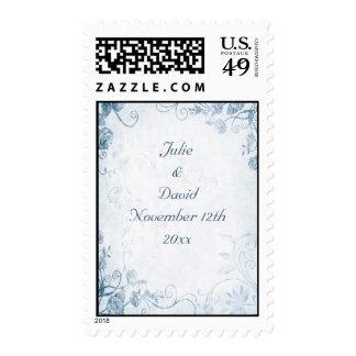 Boda azul elegante del vintage sellos postales