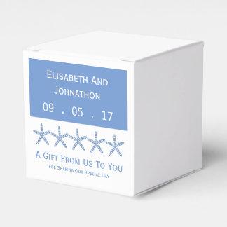 Boda azul flaco de la estrella de mar cajas para detalles de boda