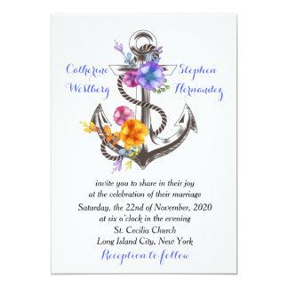 """Boda azul floral del ancla náutica del barco invitación 5"""" x 7"""""""