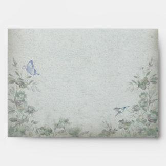 Boda azul floral del vintage sobres