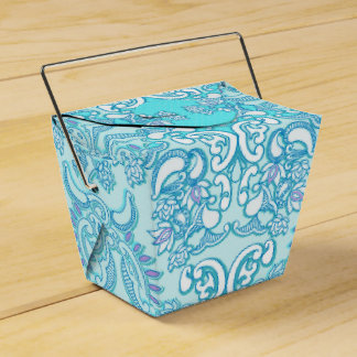 Boda azul fresco del damasco cajas para regalos