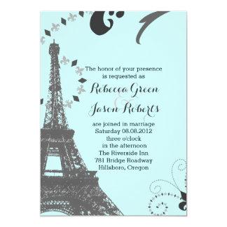"""boda azul moderno de París del vintage de la torre Invitación 5"""" X 7"""""""