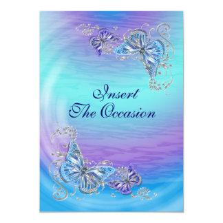 Boda azul púrpura del compromiso del cumpleaños invitación 12,7 x 17,8 cm