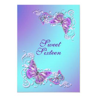 Boda azul púrpura del compromiso del cumpleaños invitación
