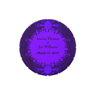 Boda azul púrpura oscuro de lujo latas de dulces