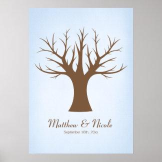 Boda azul rústico del árbol de la huella dactilar póster