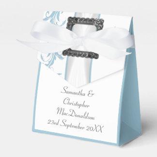 Boda azul y blanco en colores pastel llano del caja para regalos de fiestas