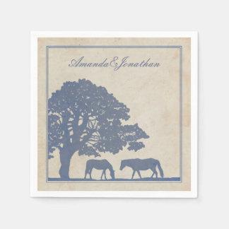 Boda azul y de marfil de la granja del caballo del servilletas desechables