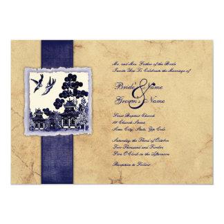 Boda azul y de marfil del vintage de los pájaros anuncio
