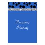 Boda azul y negro de la noche de las flores del di tarjetas de visita