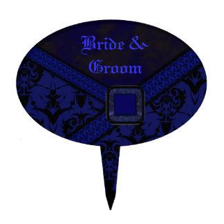 Boda azul y negro del cordón del gótico figura para tarta