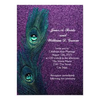 Boda azul y púrpura del trullo elegante del pavo invitación 13,9 x 19,0 cm