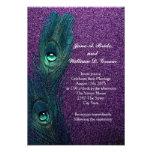 Boda azul y púrpura del trullo elegante del pavo r invitacion personalizada