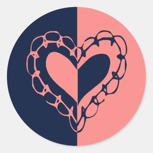Boda azul y rosado caprichoso del corazón pegatina redonda