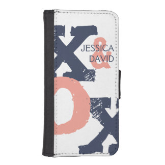Boda azul y rosado de XOX Billetera Para Teléfono
