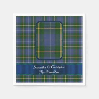Boda azul y verde de la tela escocesa de tartán servilletas desechables