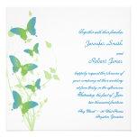 Boda azul y verde de la vid de la mariposa anuncio personalizado