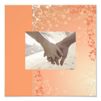 boda blanco anaranjado elegante de la caída del mo impresión fotográfica