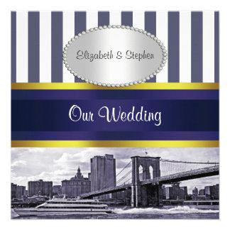 Boda blanco azul del puente de Brooklyn del horizo Invitaciones Personales