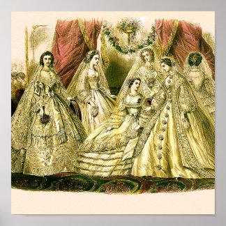 Boda blanco de la antigüedad nupcial de las novias posters