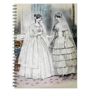 Boda blanco de la antigüedad nupcial de las novias spiral notebooks