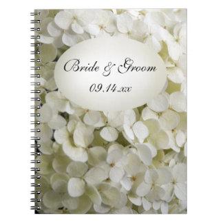Boda blanco de la flor del Hydrangea Libros De Apuntes