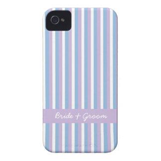 Boda blanco de la lila de las rayas de la lila iPhone 4 funda