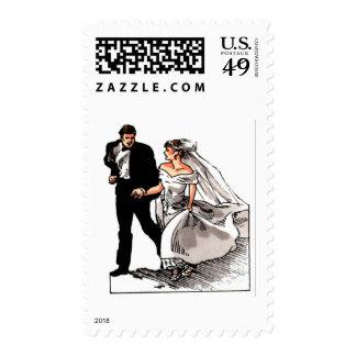 Boda blanco de novia y del novio sello