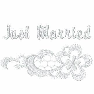 Boda blanco del cordón - apenas casado chaquetas bordadas